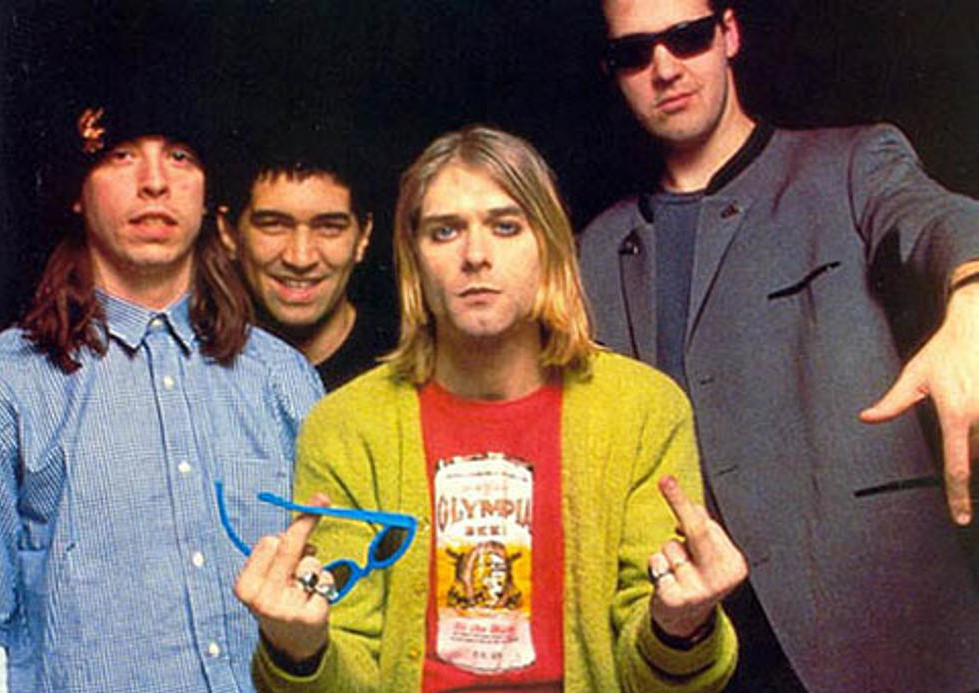 Dave Grohl, Pat Smear, Kurt Cobain, and Krist Novoselic in another corporate magazine photo shoot.